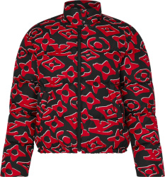 Louis Vuitton X Urs Fischer Black & Red Monogram Puffer Jacket 1a8b3x