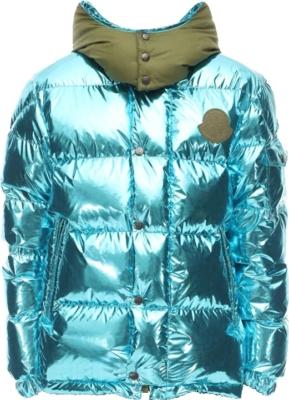 Moncler Genius Pelle Metallic Blue Puffer Jacket