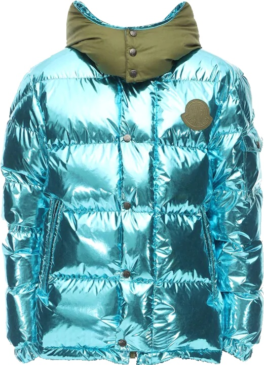 Moncler Genius Pelle Metallic Blue Puffer Jacket
