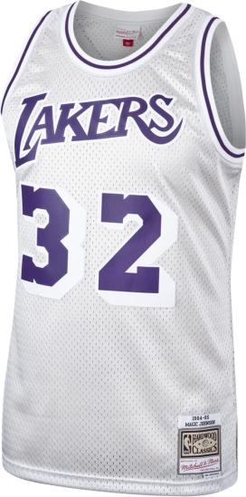 Mitchell & Ness 1984-85 L.A. Lakers #34 Magic Johnson Silver ...