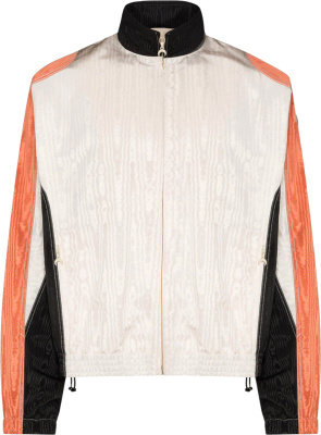 Marine Serre White, Black, & Orange Moire Track Jacket