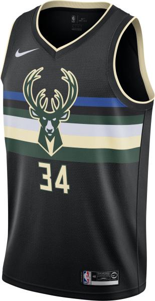 Milwaukee Bucks Antetokounmpo 34 Black Statement Edition Swingman Jersey