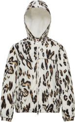 Moncler Genius 1952 White Leopard Print Hooded Jau Windbreaker Jacket