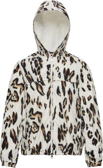 Moncler Genius 1952 White Leopard Print Hooded Jau Windbreaker Jacket