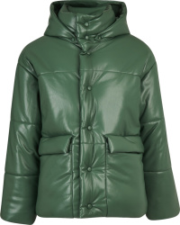 Nanushka Green Leather Hide Puffer Jacket