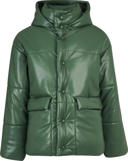 Nanushka Green Leather Hide Puffer Jacket