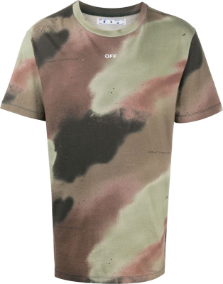 Off White Stencil Logo Camo T Shirt