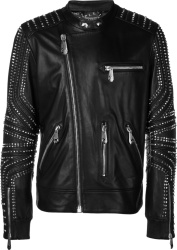 Philipp Plein Black Leather Studded Biker Jacket