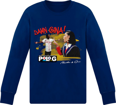 Polo G Blue Long Sleeve 'damn Gina!' Merch T Shirt