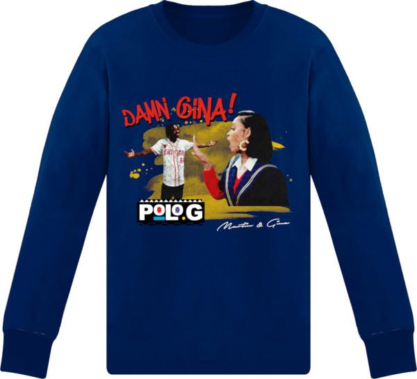 Polo G Blue Long Sleeve 'damn Gina!' Merch T Shirt