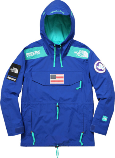 Supreme X Tnf Blue And Turquoise Hooded Anorak Expedition Jacket