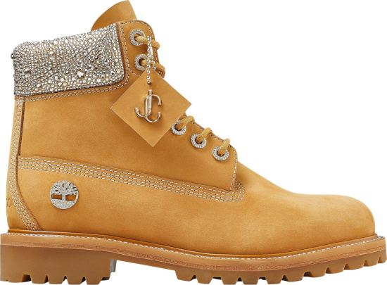 Timberland X Jimmy Choo Beige & Crystal Boots