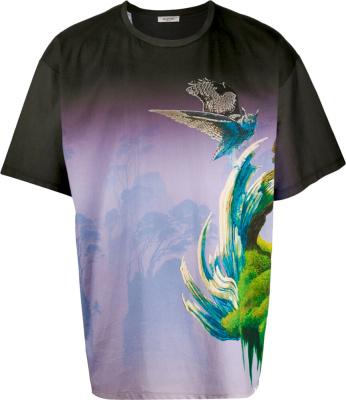 Valentino X Roger Dean Black 'blind Owl' Gradient Print T Shirt