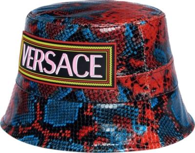 Versace Mock Python Print Leather Bucket Hat