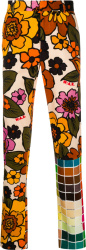 Walter Van Beirendonck Floral & Check Patch Pants
