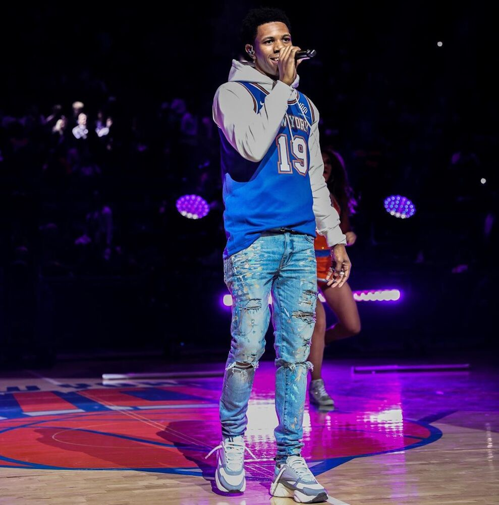 A Boogie Performing At Knicks Halftime Show In Custom Jersey Amir Jeans And Dior Sneakers