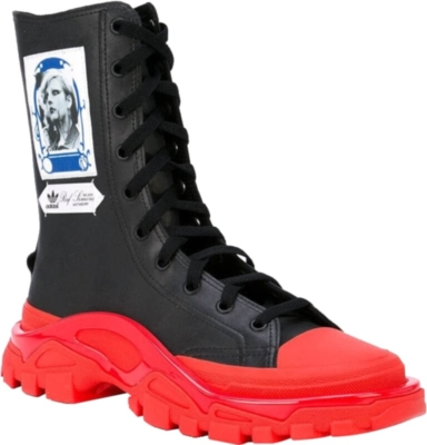 Adidas By Raf Simons Black And Red Boots