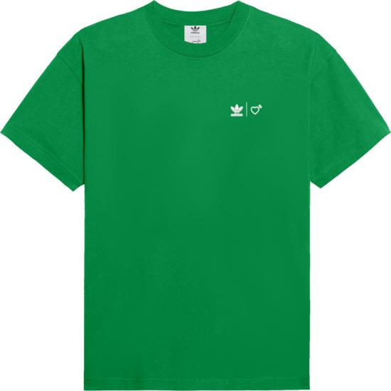 Adidas X Human Made Green Logo Print T Shirt