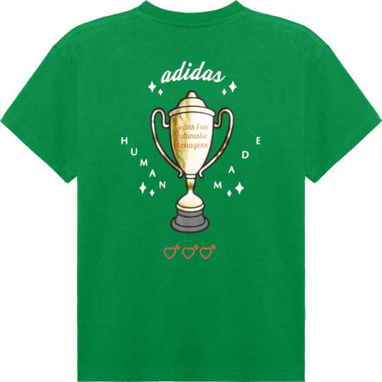 Adidas X Human Made Green Trophy Logo T Shirt
