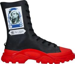 Adidas X Raf Simons Black Red Detroit High Sneakes