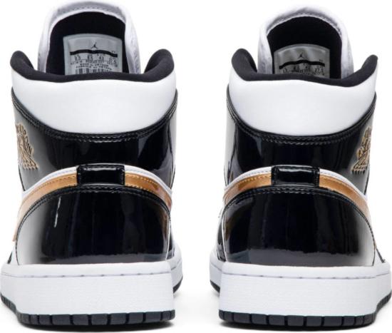 Air Jordan 1 Mid Patent Black Gold Sneakers