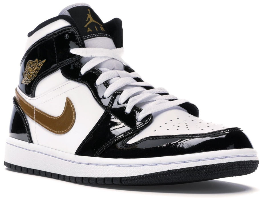 Air Jordan 1 Patent Black White And Gold Leather High Tops