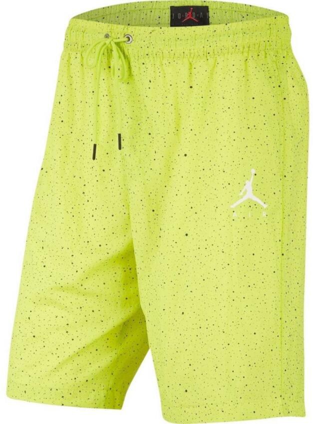 Air Jordan Neon Yellow With Black Speckled Shorts