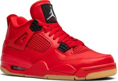Air Jordan Retro 4 Singles Day Red Sneakers With Gum Soles