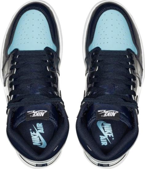 Air Jordna 1 Retro Og Blue Chill Patent Sneakers