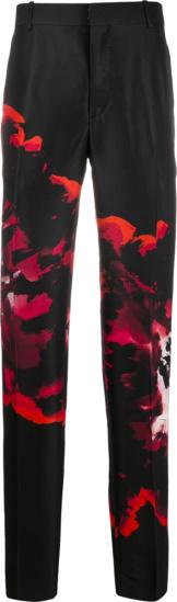 Alexander Mcqueen Black & Pink Ink Floral Pants