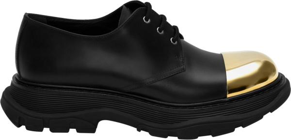 Alexander Mcqueen Black And Gold Derby Shoe