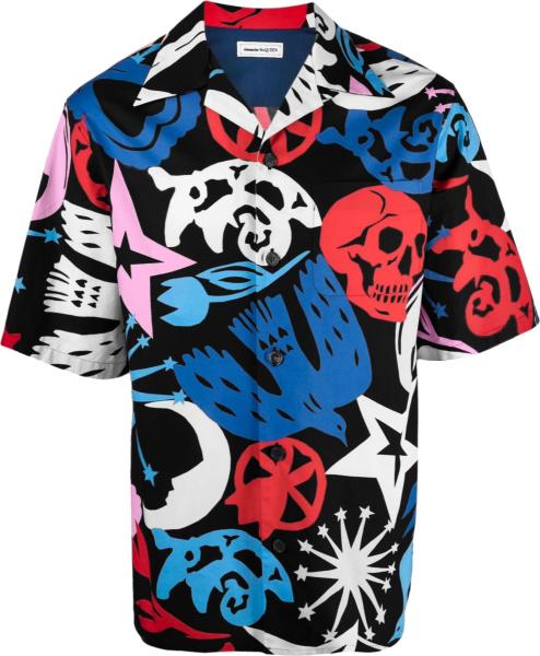 Alexander Mcqueen Black And Multicolor Papercut Print Shirt