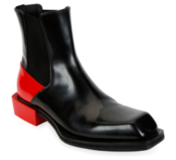Alexander Mcqueen Black And Red Colorblock Chelsea Boots
