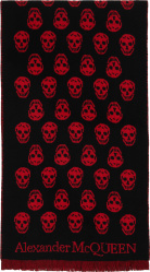 Alexander Mcqueen Black And Red Skull Fringed Scarf