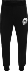Alexander Mcqueen Black And White Skull Patch Sweatpants