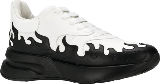 Alexander Mcqueen Black Contrasting Flame White Leather Sneakers