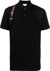 Alexander Mcqueen Black Logo Harness Strap Polo Shirt