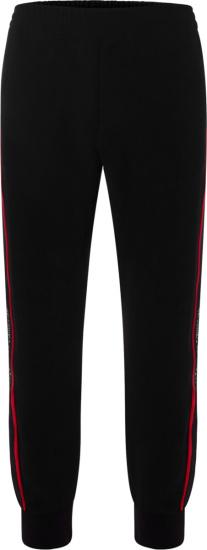 Alexander Mcqueen Black Logo Tape Sweatpants