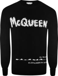 Alexander Mcqueen Black Mcqueen Graffiti Logo Sweater
