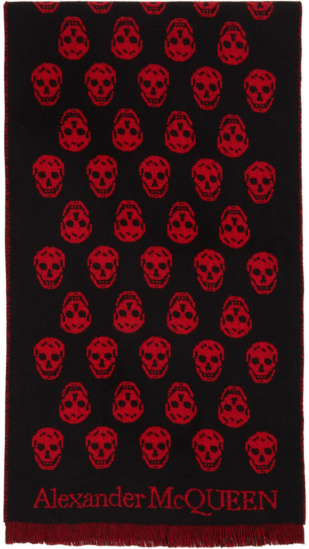 Alexander Mcqueen Black Red Wool Skull Scard