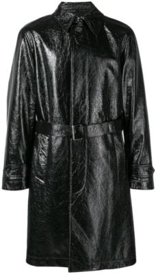 Alexander Mcqueen Black Wrinkled Leather Coat