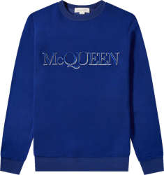 Alexander Mcqueen Blue Logo Embroidered Crewneck Sweatshirt