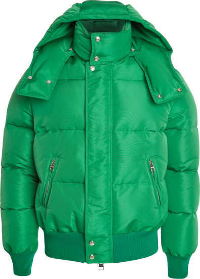 Alexander Mcqueen Green Cropped Puffer Jacket