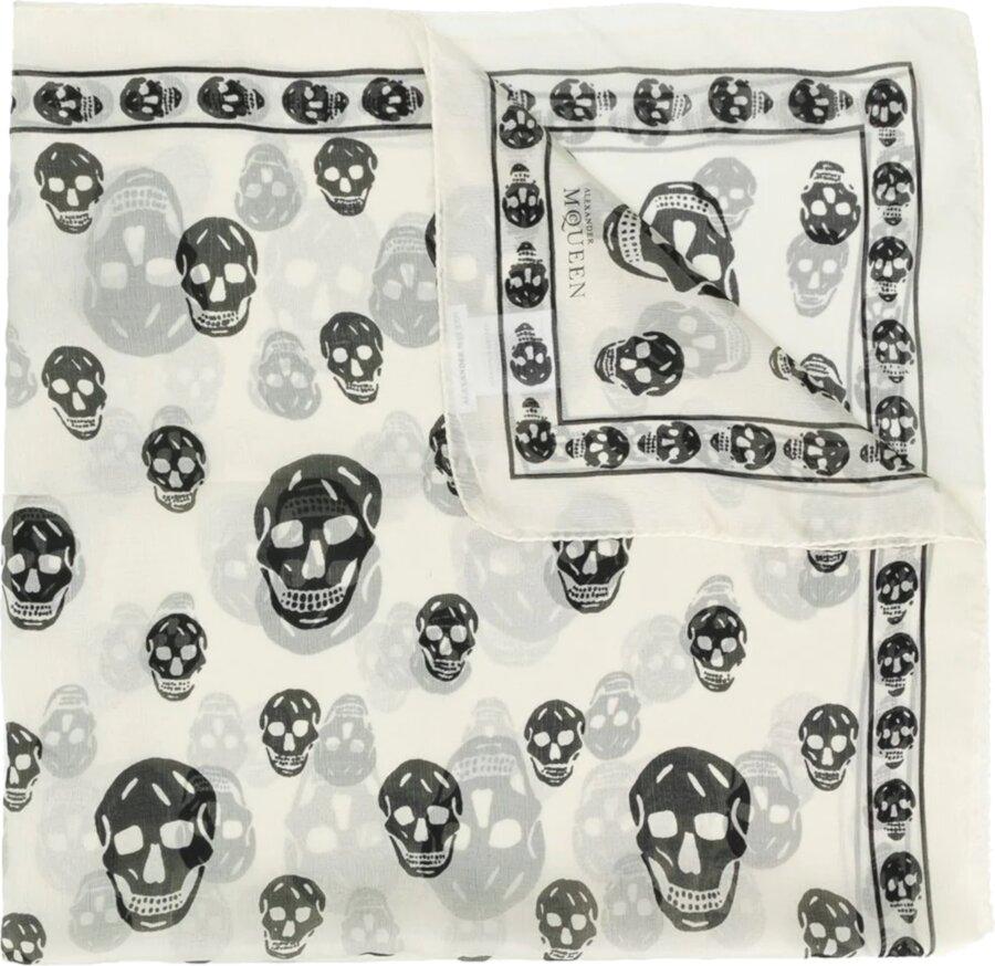 Alexander Mcqueen Ivory Skull Print Scarf