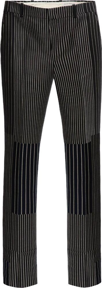 Alexander Mcqueen Patchwork Pinstripe Black Pants