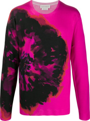 Pink & Black Ink Flower Sweater