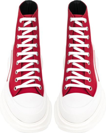 Alexander Mcqueen Red High Top Sneaker Boots