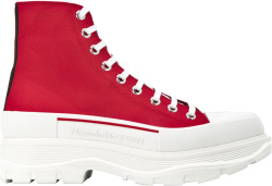 Alexander Mcqueen Red Tread Slick Boots
