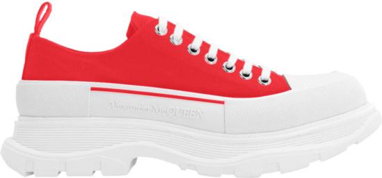 Alexander Mcqueen Red Tread Slick Sneakers