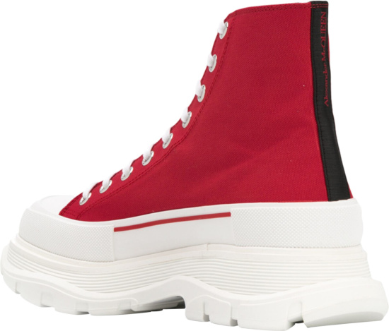 Alexander Mcqueen Red White Chunky Sole High Top Sneakers